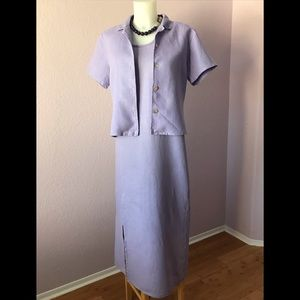 Beautiful Lavender 100% Linen Dress with Jacket 💜